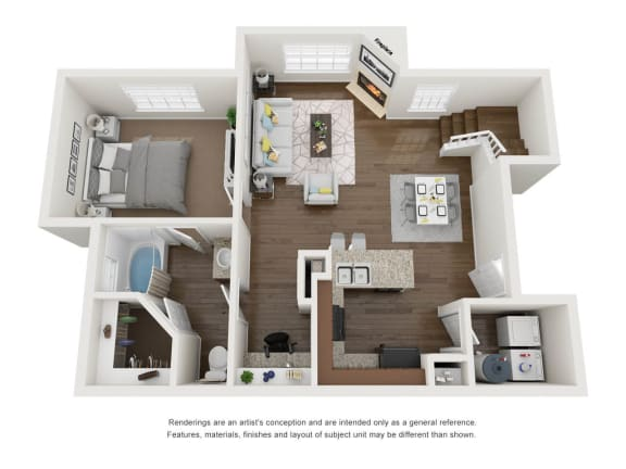 1 Bed 1 Bath First Floor 3D Floor Plan
