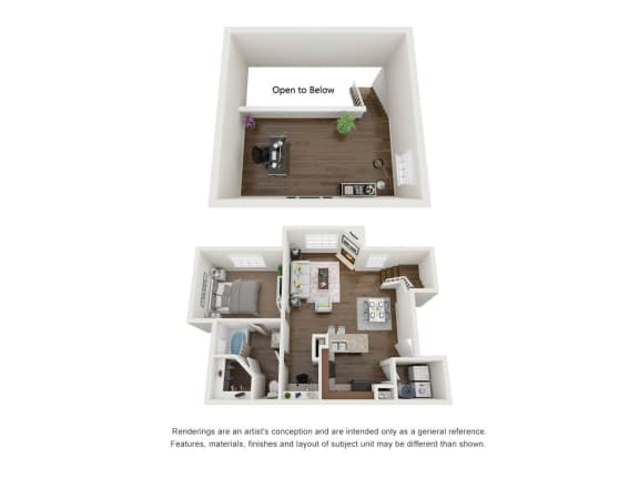1 Bed 1 Bath Loft 3D Floor Plan