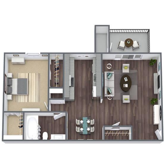 A1 Floor Plan 1x1