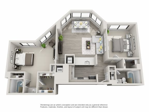 Floor Plan  2 bedroom apartment layout