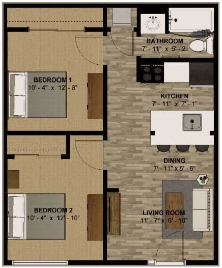 610 sq ft 2 bedroom 1 bathroom