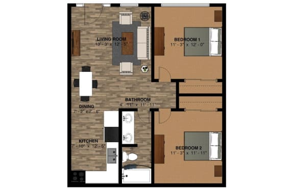 760 Sq ft 2 bedroom 1 bathroom
