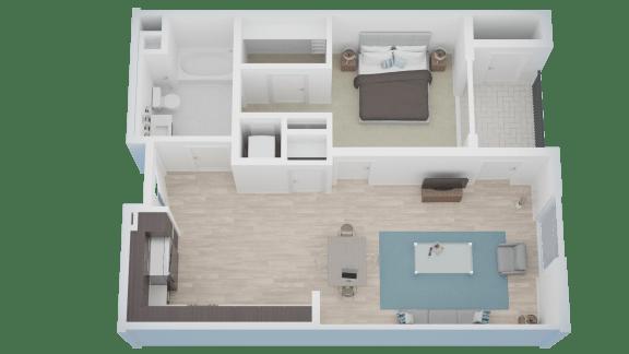 1 BED 1 BATH - A2 floorplan