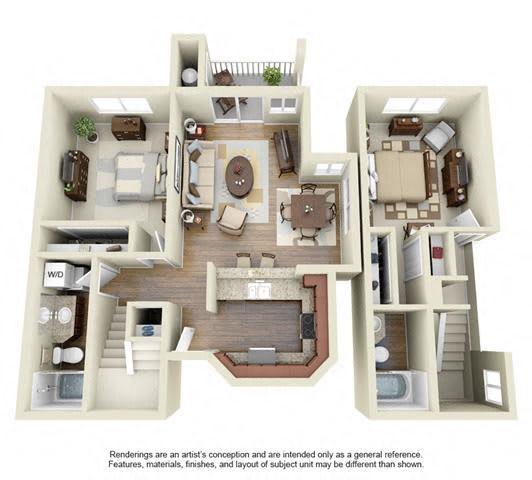 2 BED 2 BATH - B3 floorplan