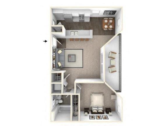 1 bed 1 bath floor plan A1 RENOVATED