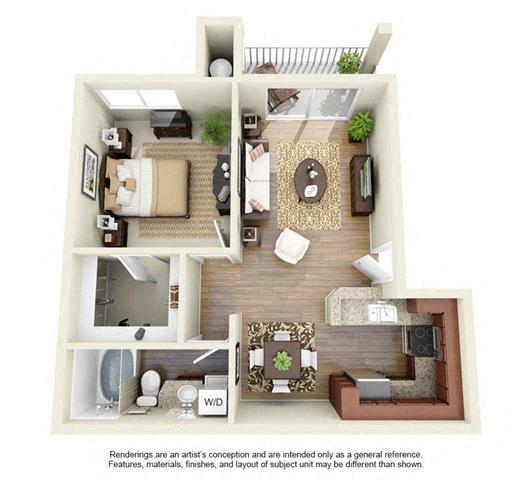 1 BED 1 BATH - A2R floorplan