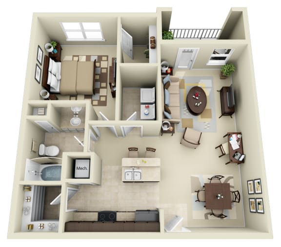 Floor Plan  A2 Floor Plan at Carolina Point Apartments, Greenville, 29607