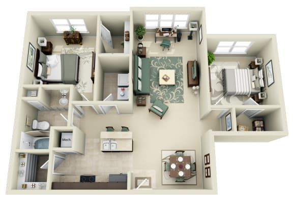 Floor Plan  B1 Floor Plan at Carolina Point Apartments, Greenville, South Carolina