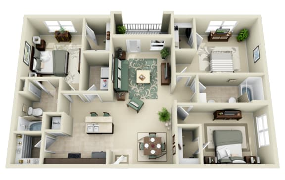 Floor Plan  C1 Floor Plan at Carolina Point Apartments, South Carolina