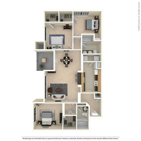 C1 Three Bed Two Bath 1302 Sq ft at Mariposa Villas, Dallas, Texas