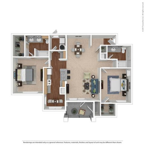 B2 Floor Plan at Huntington Ridge Apartments,CLEAR Property Management, DeSoto, 75115