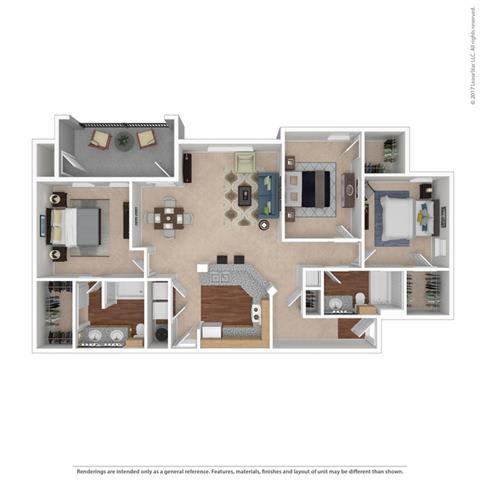 C1 Floor Plan at Huntington Ridge Apartments,CLEAR Property Management, Texas