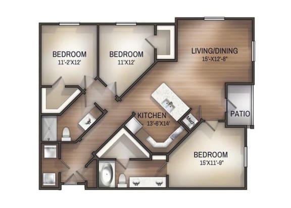 Floor Plan  cahaba 3x2 1352 sf floor plan