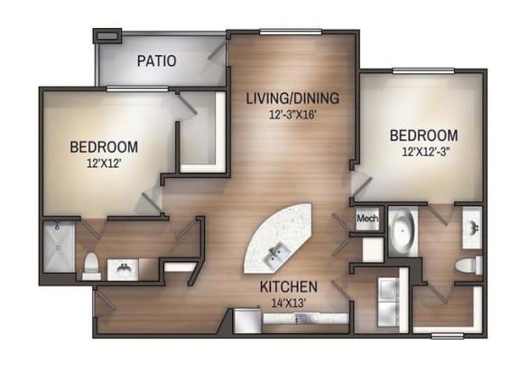 Floor Plan  highland 2x2 1118 sf floor plan
