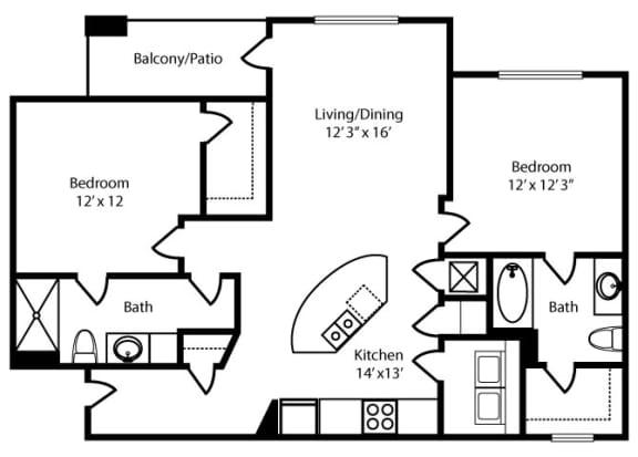 Floor Plan  Highland-2x2-1118 sq ft