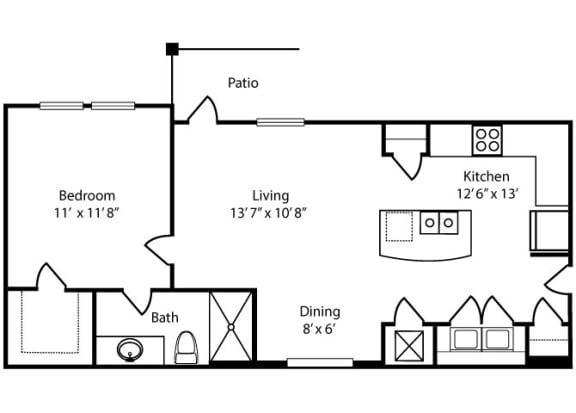 Floor Plan  Overton1x1 668 sq ft