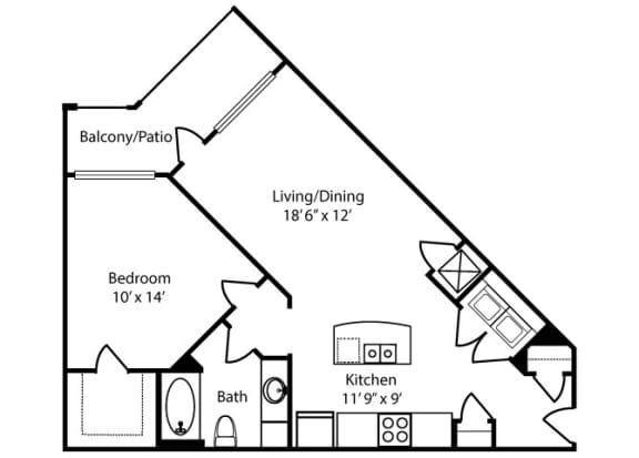 Floor Plan  Oxmoor-1x1-779 sq ft