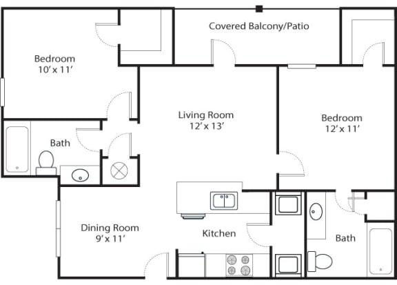 Floor Plan  pines 2x2 955 sf floor plan