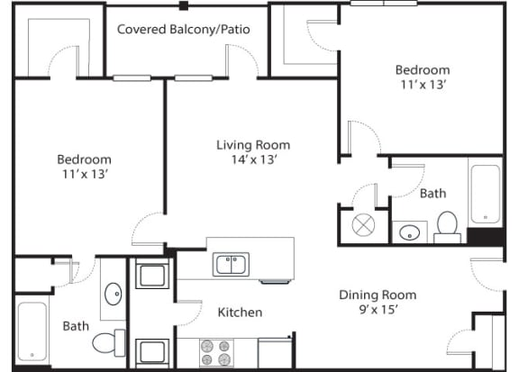 Floor Plan  Pinnacle 2x2 1101 SF floor plan