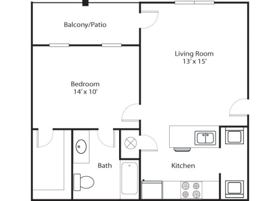Pointe 1x1 681 SF floor plan
