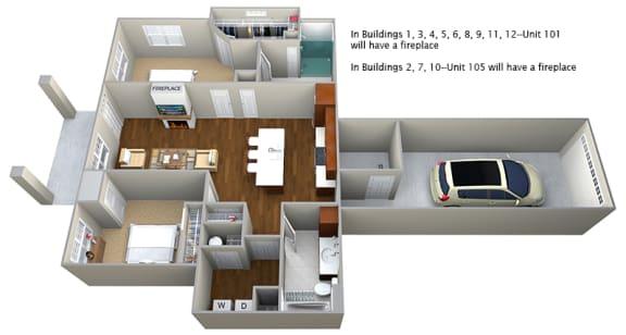 Floor Plan  2 bedroom (1096 sf)