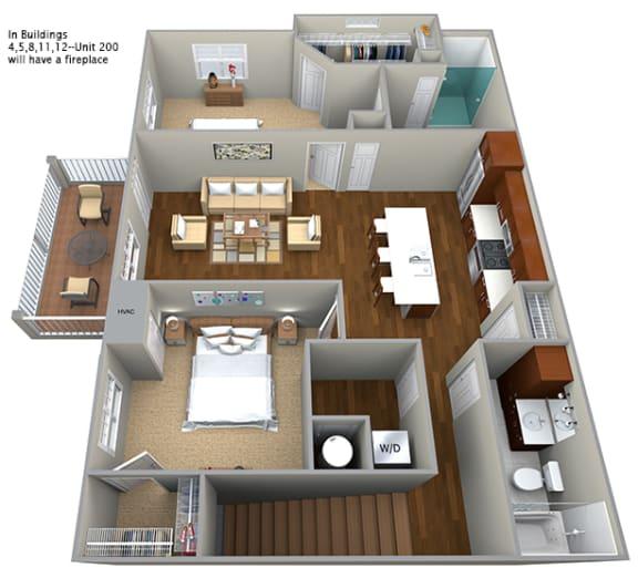 Floor Plan  2 bedroom (1158 sf)