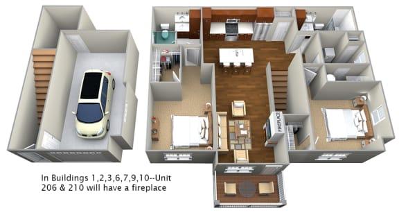 Floor Plan  2 bedroom (1188 sf)