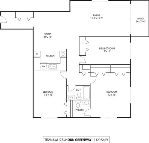 Floor Plan  The Calhoun Greenway Apartments in Minneapolis, MN 2 Bedroom 2 Bath Plus Den