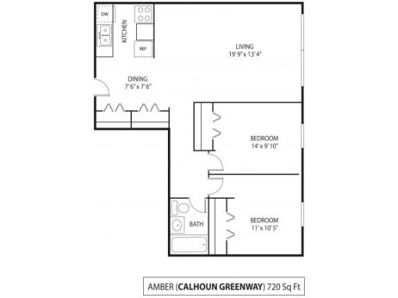 Floor Plan  The Calhoun Greenway Apartments in Minneapolis, MN 2 Bedroom 1 Bath, opens a dialog