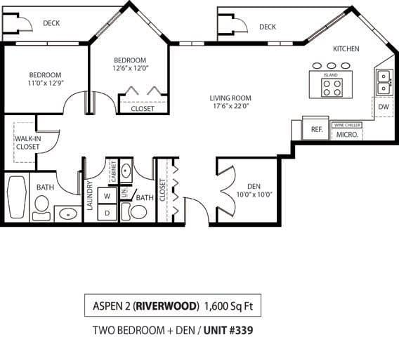 Floor Plan  The Riverwood Apartments in Lilydale, MN 2 Bedroom 2 Bath Plus Den