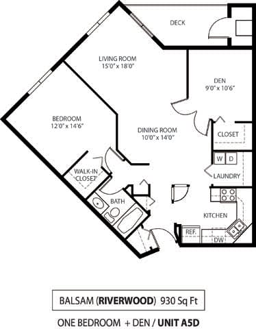 Floor Plan  The Riverwood Apartments in Lilydale, MN 1 Bedroom 1 Bath Plus Den