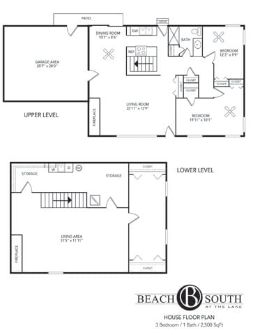 Floor Plan  Beach South at the Lake in Robbinsdale, MN 3 Bedroom 1 Bath House