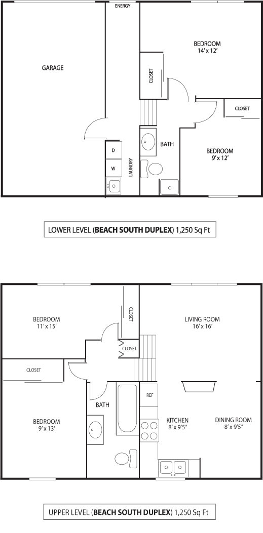 Floor Plan  Beach South at the Lake Apartments in Robbinsdale, MN 4 Bedroom 1.75 Bath Duplex