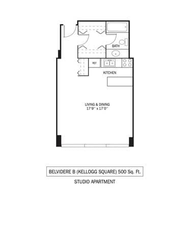 Floor Plan  Kellogg Square Apartments in St. Paul, MN Studio Apartment