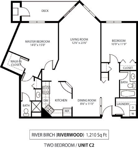 Floor Plan  The Riverwood Apartments in Lilydale, MN 2 Bedroom 2 Bath
