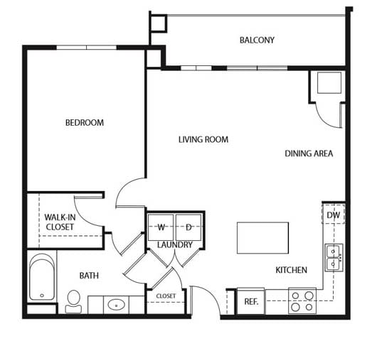 Floor Plan  Evans Meadows Apartments in Elk River, MN 1 Bedroom 1 Bath