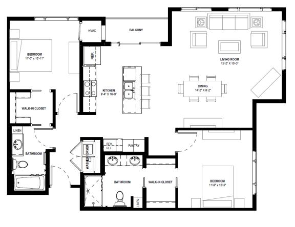 Floor Plan  Galante at Parkside in Apple Valley, MN 2 Bedroom 2 Bath Apartment