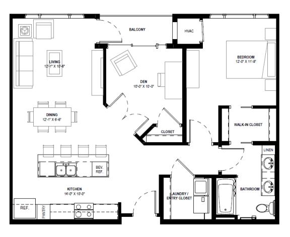 Floor Plan  Galante at Parkside in Apple Valley, MN 1 Bedroom 1 Bath Plus Den Apartment