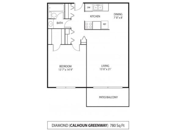 Floor Plan  The Calhoun Greenway Apartments in Minneapolis, MN 1 Bedroom 1 Bath