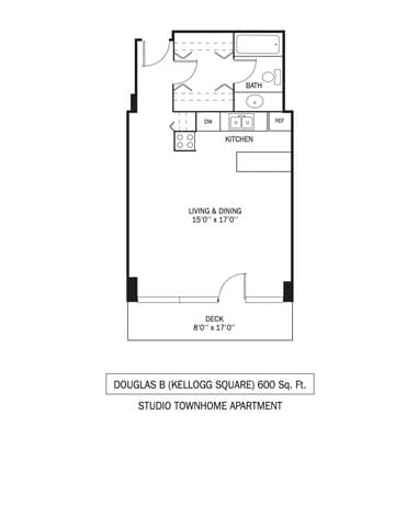 Floor Plan  Kellogg Square Apartments in St. Paul, MN Townhouse Studio Apartment