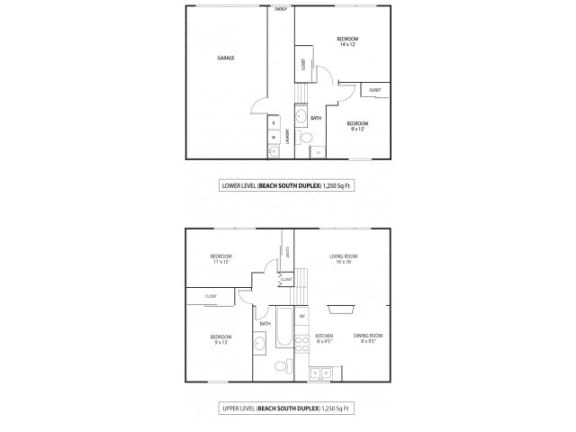 Floor Plan  Beach South at the Lake Apartments in Robbinsdale, MN Duplex 4 Bedroom 1.75 bath
