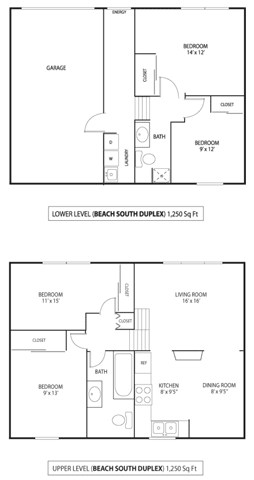 Floor Plan  Beach South at the Lake Apartments in Robbinsdale, MN 4 Bedroom 1.75 Bathroom Duplex