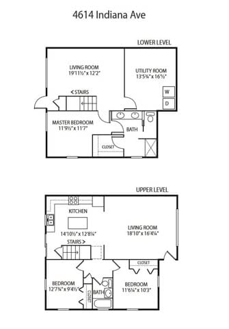 Floor Plan  Beach South at the Lake Apartments in Robbinsdale, MN 3 Bedroom, 1.75 Bath Duplex