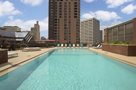 Galtier Towers Apartments in Lowertown, St. Paul, MN Shimmering Rooftop Pool