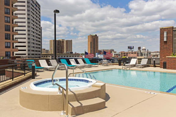 Galtier Towers Apartments in Lowertown, St. Paul, MN Sparkling Rooftop Pool