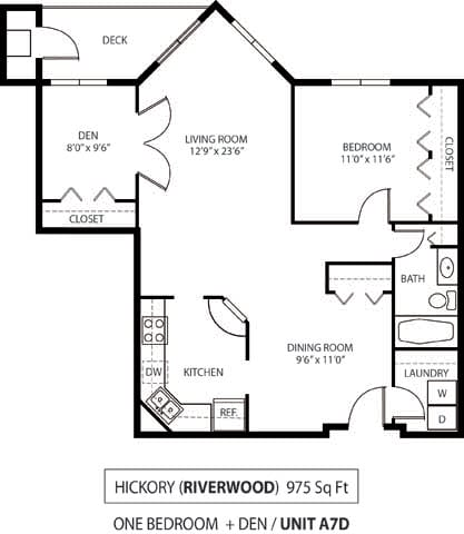 The Riverwood Apartments in Lilydale, MN 1 Bedroom 1 Bath Plus Den