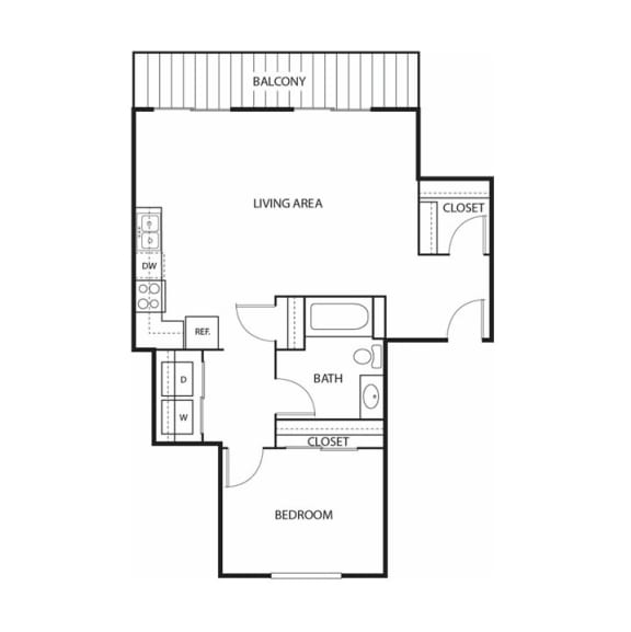 Floor Plan  Beach South at the Lake Apartments in Robbinsdale, MN 1 Beds, 1 Bath