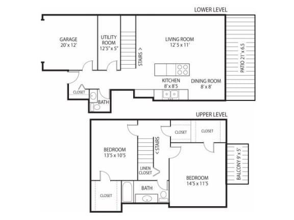 Floor Plan  Beach South at the Lake Apartments in Robbinsdale, MN 2 Bedroom 1.5 Bath Townhome