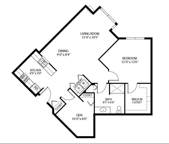 Floor Plan  Heritage Place Apartments 55+ Community in Rogers, MN 1 Bedroom 1 Bathroom