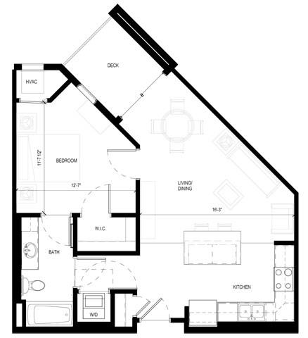 Gabella at Parkside Apartments in Apple Valley, MN One Bedroom One Bath Floor Plan